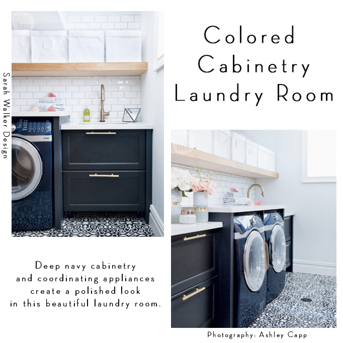 navy colored cabinetry laundry roo