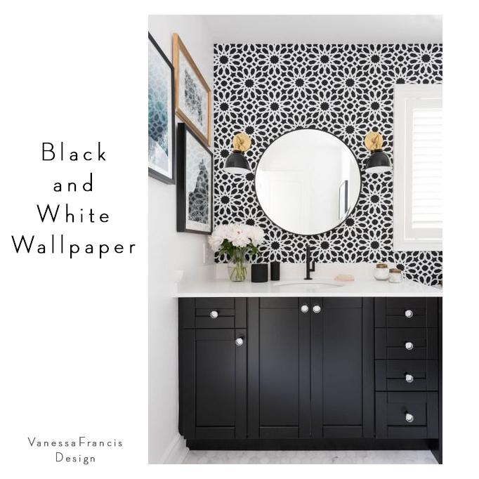 black and white floral wallpaper bathroom