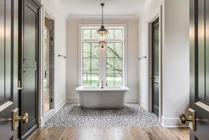 elegant black bathroom room mediterranean tile