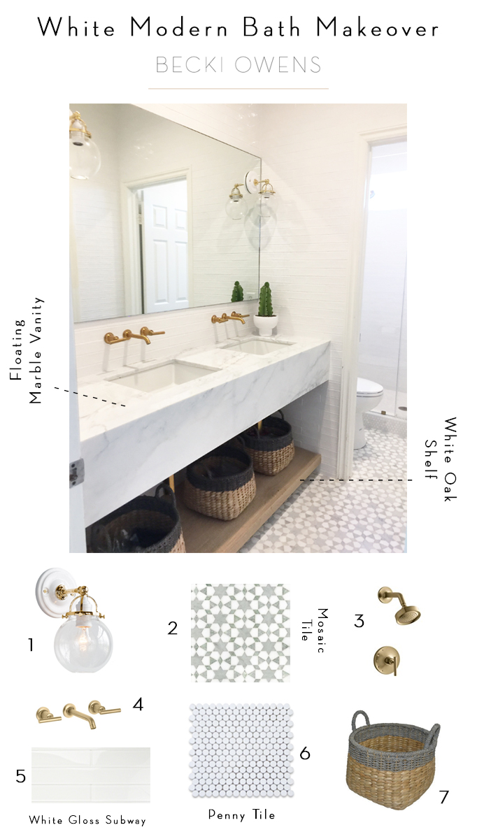 White Modern Bath Makeover