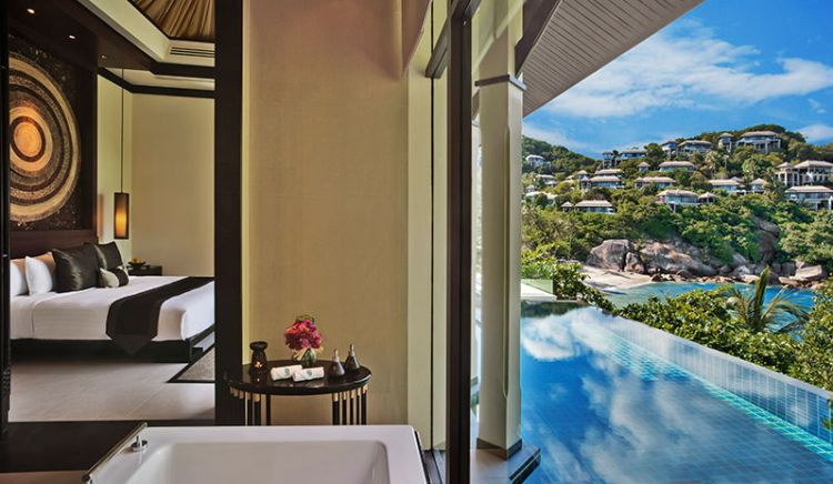 One of the luxurious rooms at Banyan Tree Samui hotel in Thailand.
