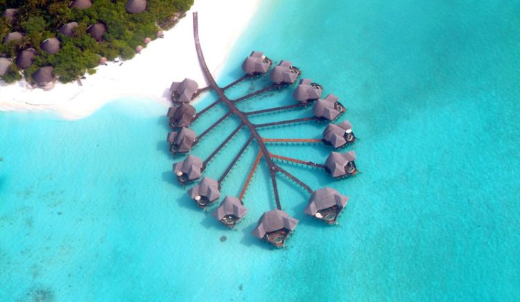Aerial view of the iconic water villas at Coco Palm Dhuni Kolhu
