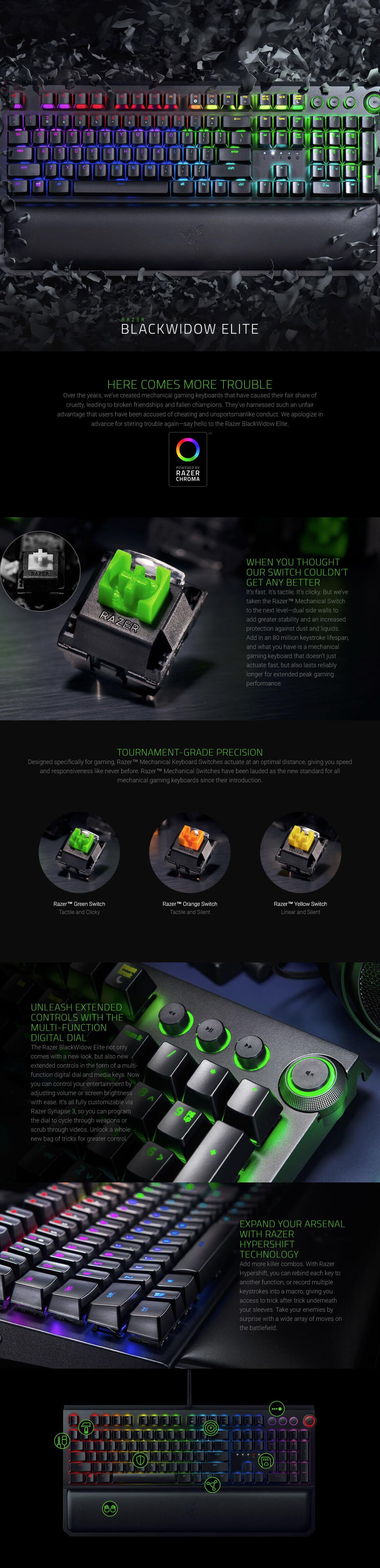 Razer BlackWidow Elite Chroma Mechanical Gaming Keyboard, Green Switch