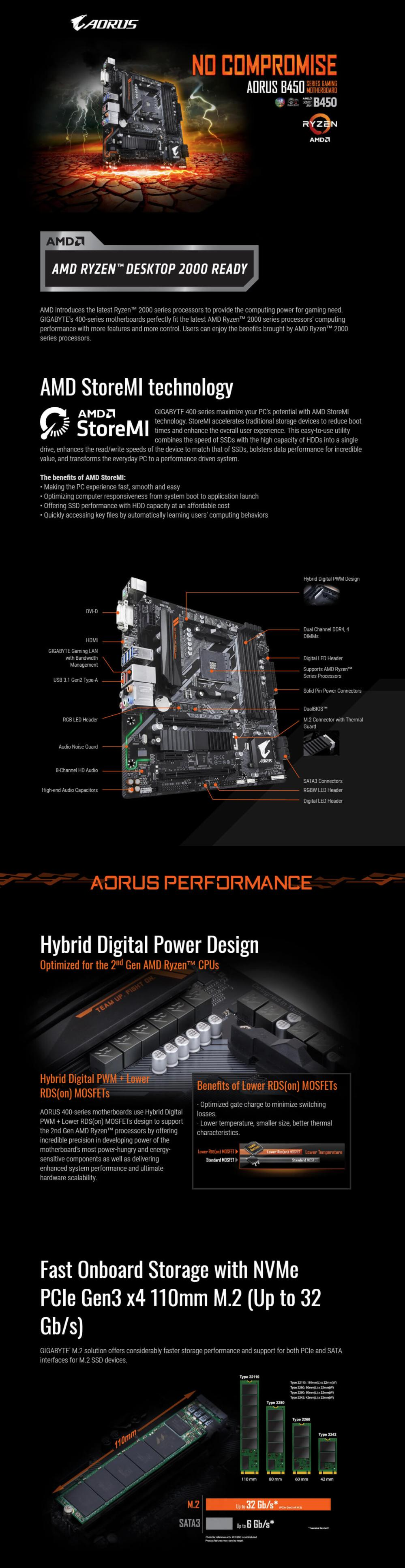 medium resolution of gigabyte ga b450 aorus m motherboard