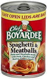Chef Boyardee Spaghetti Meatballs 145 oz Nutrition