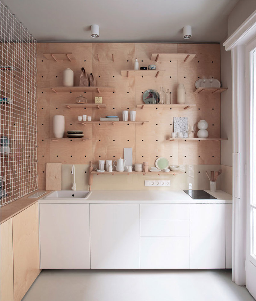 kitchen pegboard 3 compartment sink trending: and dowel open shelves - 9homes