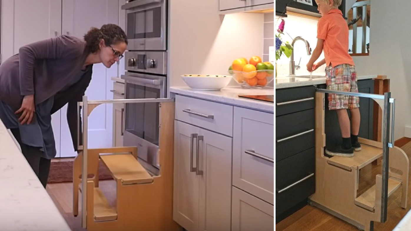 kitchen step cabinet organizers clever hidden cupboard stairs fold away into nothing 9homes