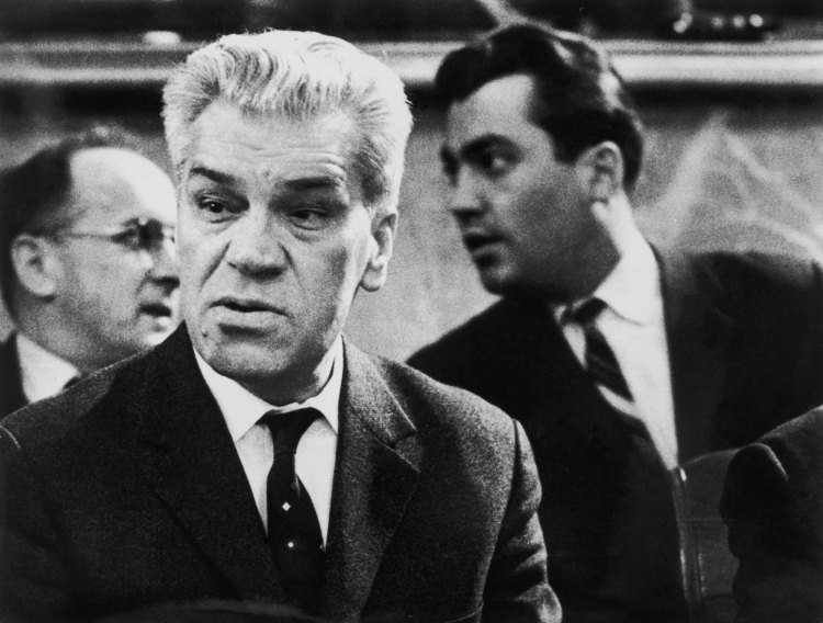 Chief Soviet delegate Semyon Tsarapkin (centre) and colleague Yuri Nosenko (1927 - 2008, right) at the Geneva Disarmament Conference, February 1964. A few days later Nosenko, a Lieutenant Colonel in the KGB, disappeared and later defected to the US.  (Photo by Central Press/Hulton Archive/Getty Images)
