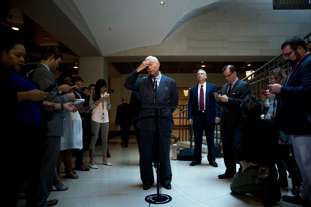 """Longtime Donald Trump associate Roger Stone pauses while speaking to members of the media after testifying before the House Intelligence Committee, on Capitol Hill, Tuesday, Sept. 26, 2017, in Washington. Stone says there is """"not one shred of evidence"""" that he was involved with Russian interference in the 2016 election. Stone's interview comes as the House and Senate intelligence panels are looking into the Russian meddling and possible links to Trump's campaign. (AP Photo/Andrew Harnik)"""