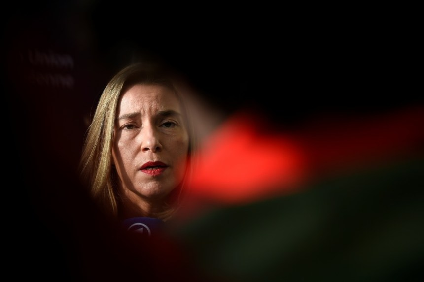 High Representative of the Union for Foreign Affairs and Security PolicyFederica Mogherini answers journalists' questions as she arrives for a Foreign Affairs meeting in Luxembourg on October 16, 2017.  / AFP PHOTO / JOHN THYS        (Photo credit should read JOHN THYS/AFP/Getty Images)