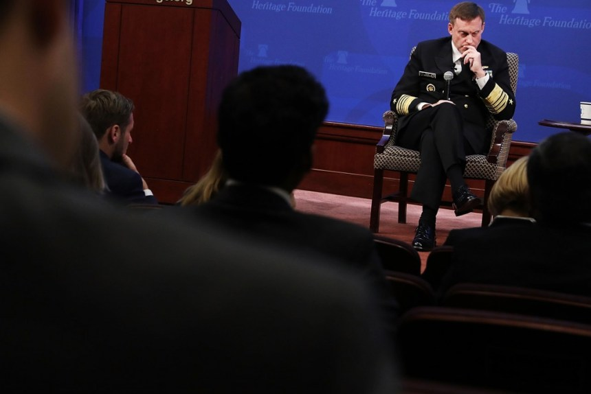 WASHINGTON, DC - OCTOBER 13:  U.S. National Security Agency Director Michael Rogers delivers remarks arguing for the renewal of Section 702 of the Foreign Intelligence Surveillance Act at the Heritage Foundation October 13, 2017 in Washington, DC. The conservative think tank hosted national security leaders for a seminar about the controversial 702 provision, which authorizes the government to conduct warrantless electronic surveillance to collect, use and disseminate communications stored by U.S. internet service providers, among other things.  (Photo by Chip Somodevilla/Getty Images)
