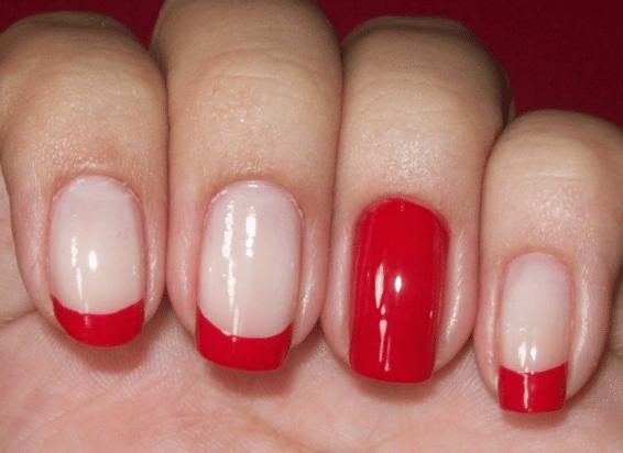 unhas vermelhas - Manicure francesa