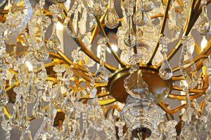 golden chandelier hanging of the ceiling
