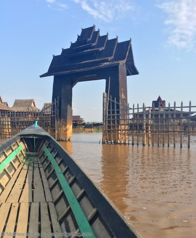 """Most accommodations on Inle Lake take the form of """"floating hotels""""."""