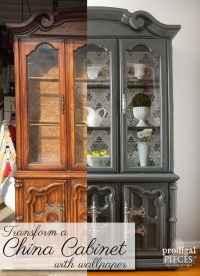 China Cabinet Makeover with Wallpaper - Prodigal Pieces
