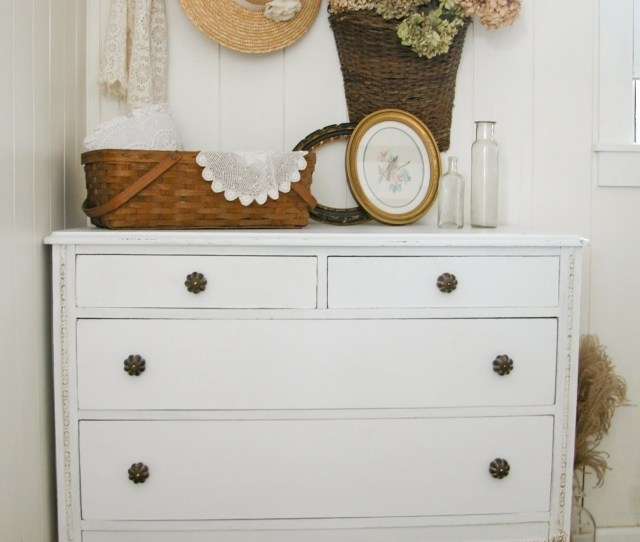 White Farmhouse Distressed Dresser Makeover By Prodigal Pieces Www Prodigalpieces Com