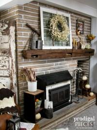 Corn Husk Pumpkins & Wreath ~ Fireplace Makeover