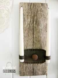 Repurposed Candle Sconces from Barn Wood