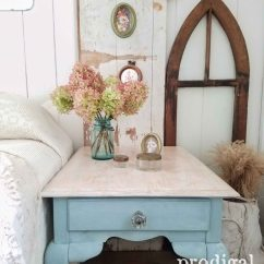 Painted Queen Anne Sofa Table Power Recliner Made New Prodigal Pieces Vintage Duck Egg Blue Refinished By Prodigalpieces Com