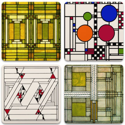 Frank Lloyd Wright Art Glass Designs Coaster Set