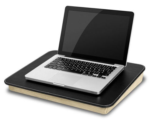 BLACK LAPDESK COMPUTER TRAY LAPTOP LAP DESK SUEDE PADDED