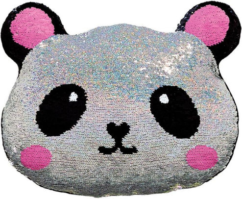 mini panda reversible sequin pillow