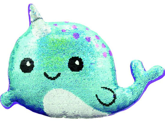 mini narwhal reversible sequin pillow
