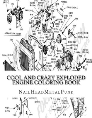 Cool And Crazy Exploded Engine Coloring Book: Internal