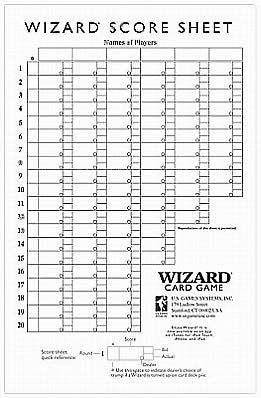 Oversized Wizard Scorepads by U S Games Systems Inc