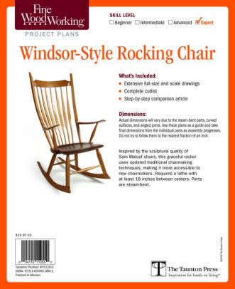 rocking chair fine woodworking white desk with no wheels s windsor style plan by editors of other format barnes noble
