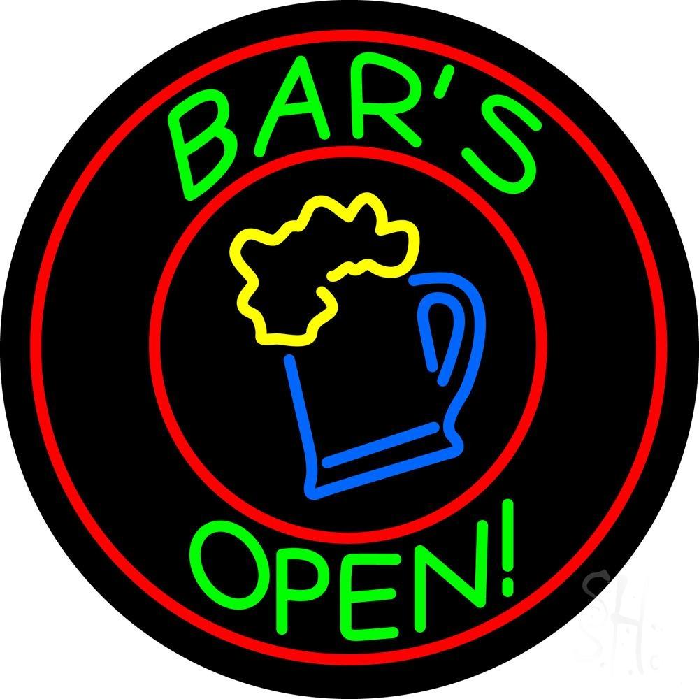 Round Bar Open With Beer Mug Neon Sign  Bar Open Neon