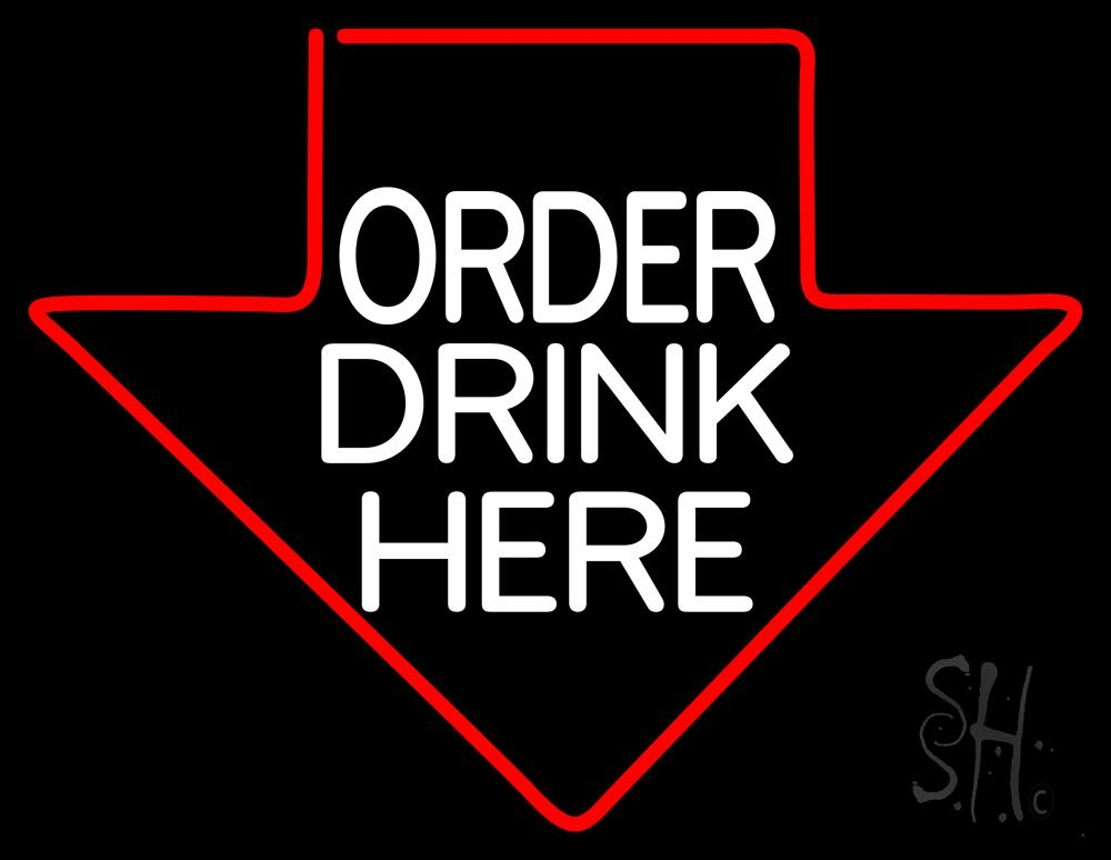 Order Drinks Here With Arrow LED Neon Sign - Order Here Neon Signs - Everything Neon