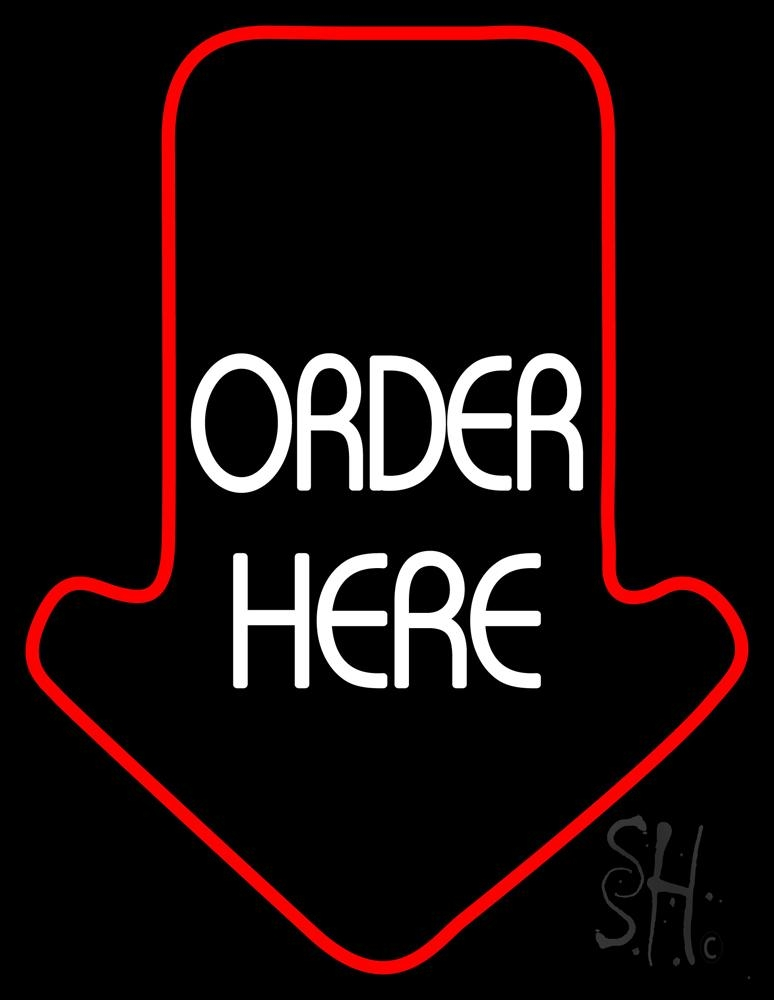 Order Here With Arrow LED Neon Sign - Order Here Neon Signs - Everything Neon
