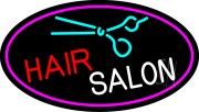 blue hair salon logo neon sign