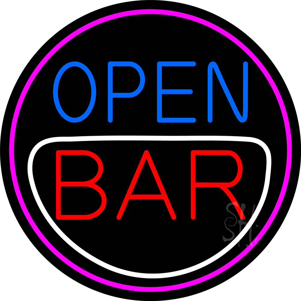 Round Bar Open Neon Sign  Bar Open Neon Signs  Every