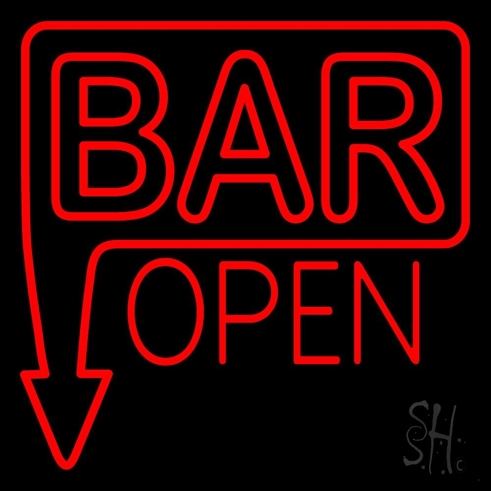 Bar Open With Arrow Red Neon Sign  Bar Open Neon Signs