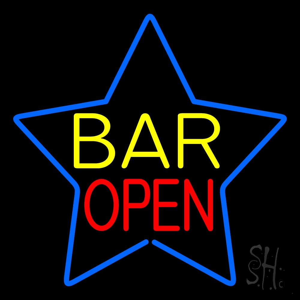 Yellow Bar Open Inside Blue Star Neon Sign  Bar Open Neon