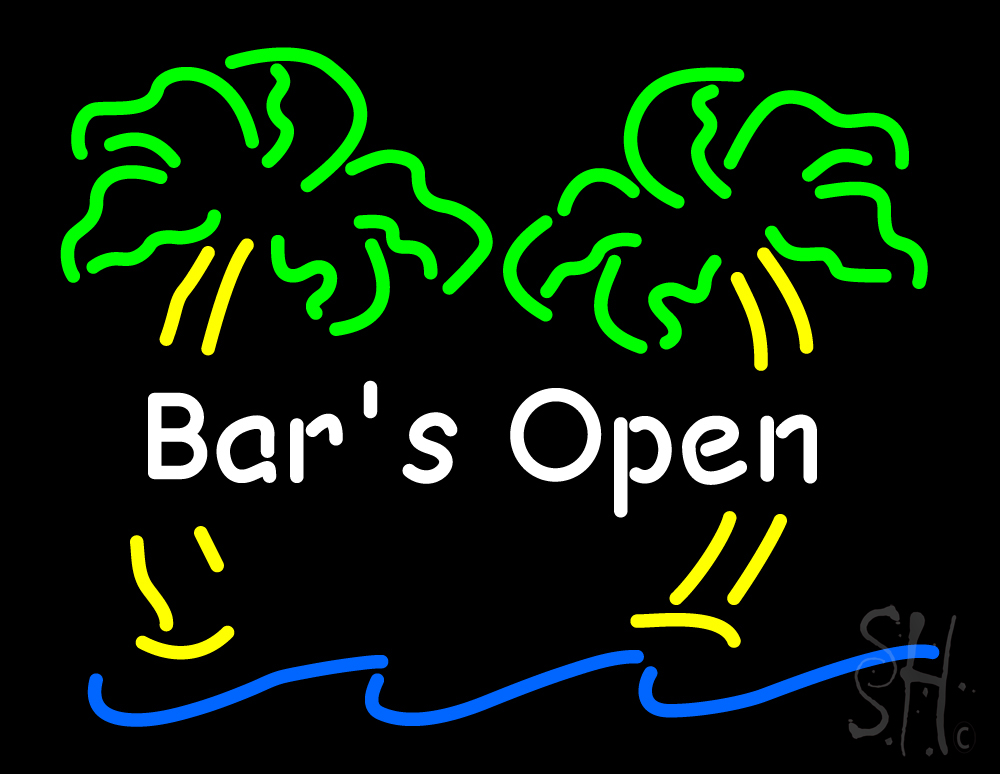 Bar Open with Two Palm Tree Neon Sign  Bar Neon Signs