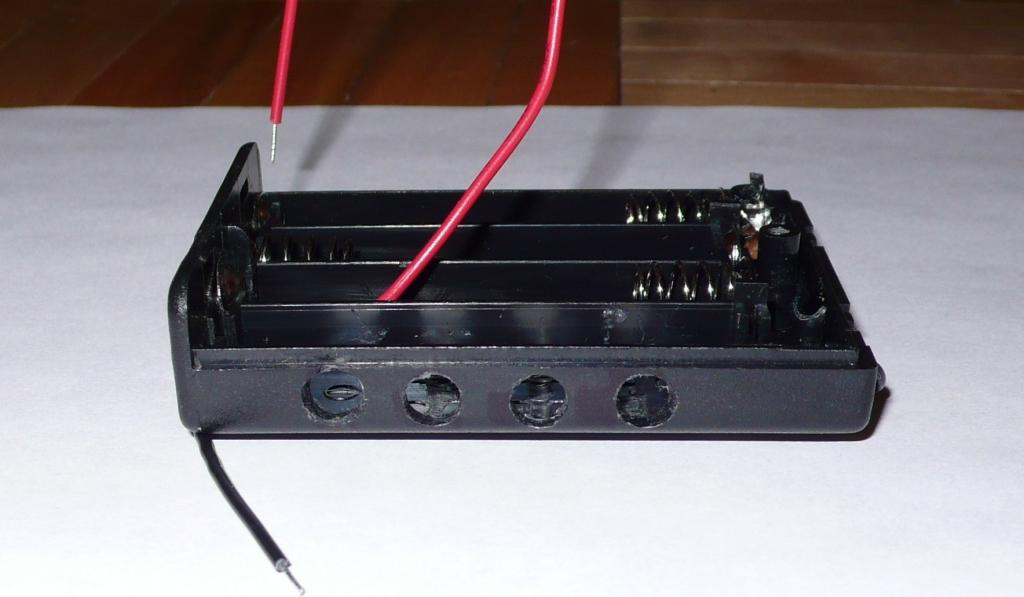 relocate red wire and drill 4 LED holes