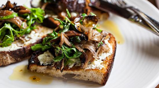 Mixed Mushroom Bruschetta with Truffle Vinaigrette