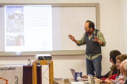 Nahuel habla a nombre de las cuatro cooperativas que integran la Red Hábitat Popular
