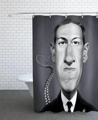 h p lovecraft shower curtain