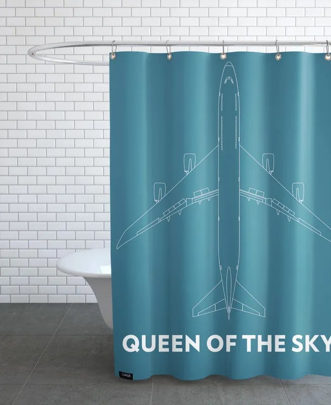 queen of the sky boeing 747 shower curtain