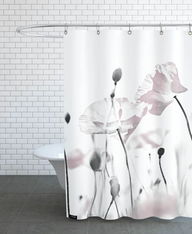 poppy white 1 shower curtain