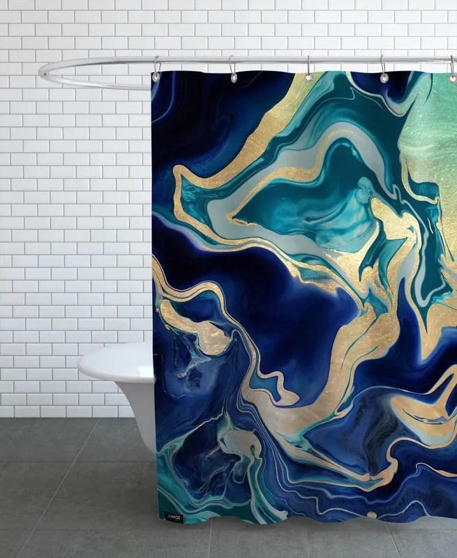 drama queen gold indigo shower curtain