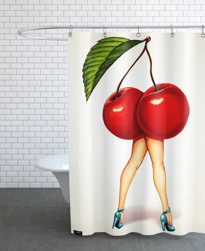 fruit stand cherry shower curtain