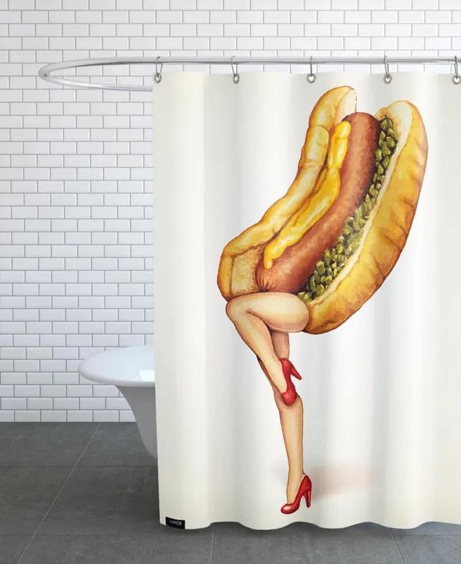 hotdog girl shower curtain