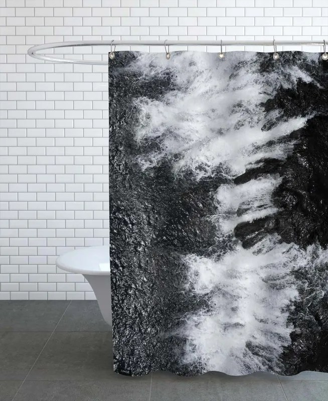 black and white water cascade shower curtain