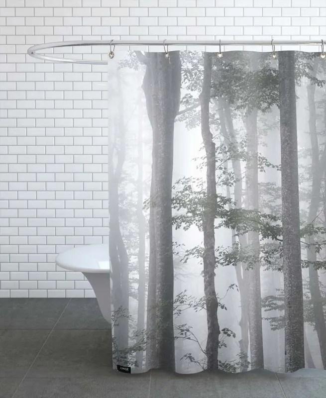 foggy autumn forest shower curtain