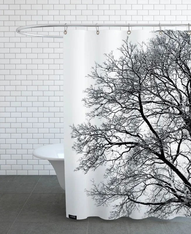 black white abstract winter tree shower curtain